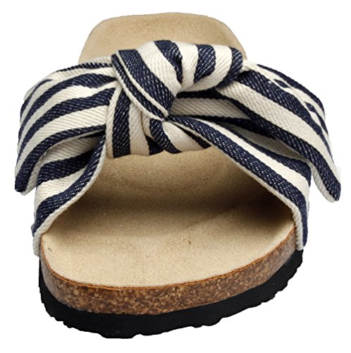 Sandals Canvas Cork Stripe for Knot Bow Pepstep Slide Women Womens Sole Sandals for Slides Women HwgCgqp