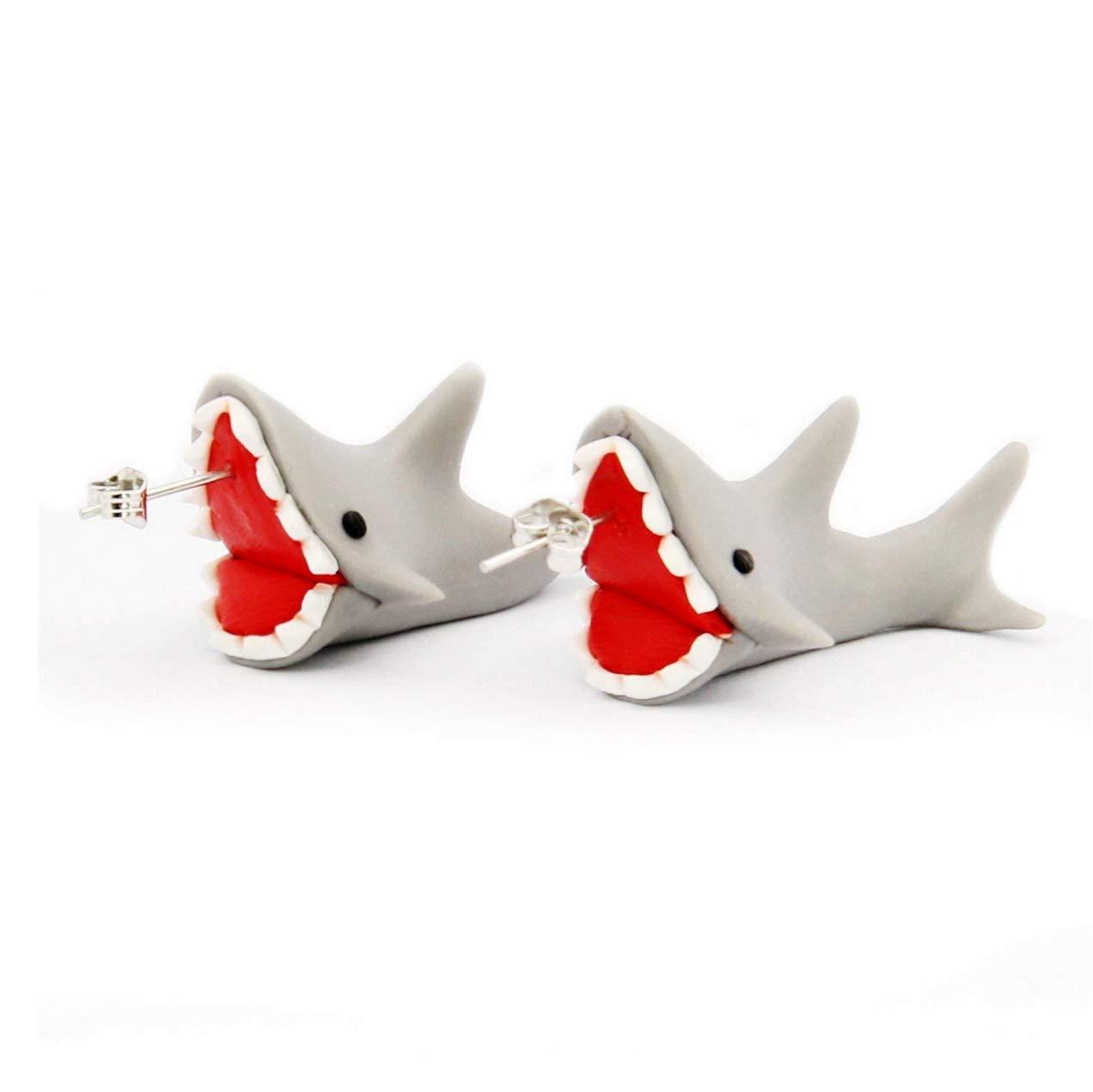 80b946843 Amazon.com: Taken Earrings Handcraft Polymer Clay Cute Shark Biting Ears  Stud Color Grey (One pair)