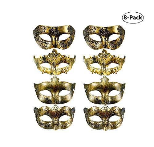 8 Pieces Vintage Venetian Masquerade Mask Masquerade Half Face Mask -