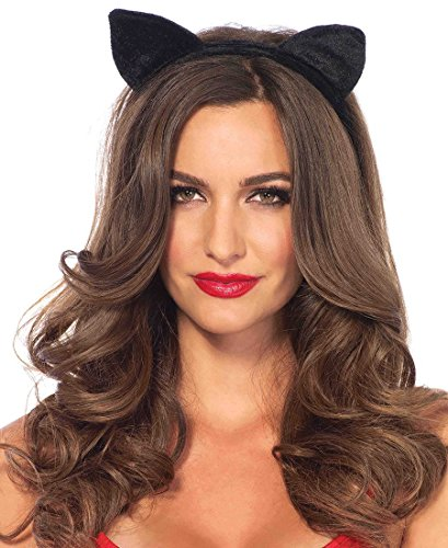 Leg Avenue Velvet Black Cat Ear Headband - Black - One Size (Velvet Avenue Leg)
