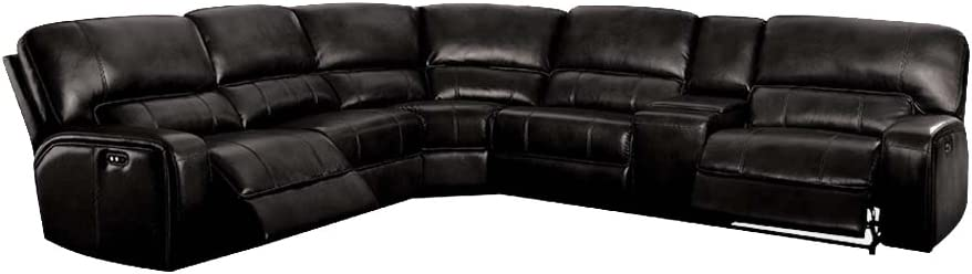 ACME Saul Sectional Sofa (Power Motion/USB Dock) - - Black Leather-Aire