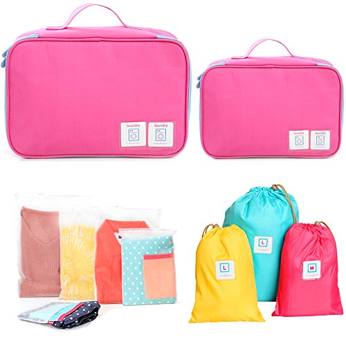 Set of 10 FAMILIFE Packing Cube Set, with Laundry Bag, Shoes Bag, Waterproof Organizer Bags, (Pink) (Rubix Cube Storage Bag)