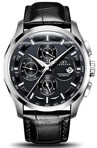 Men's Automatic Self-Wind Watch Sapphire Stainless Steel Or Genuine Leather Band Waterproof Swiss Watches (Calfskin Band/Silver Black) (Best Swiss Made Watches Under 2000)