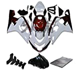 #3: 9FastMoto Fairings for suzuki 2004 2005 GSX-R600 GSX-R750 K4 04 05 GSXR 600 750 K4 Motorcycle Fairing Kit ABS Injection Set Sportbike Cowls Panels (White & Red) S1263