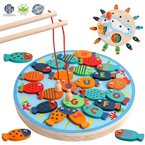 (Magnetic Alphabet Letter Wooden Fishing Game Catching Counting Board Games with Magnet Poles Birthday Learning Preschool Educational Gift for 3 4 5 Year Old Boys Girl Kids Toddlers)
