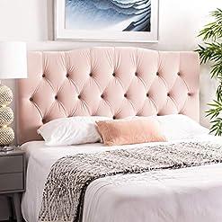 Bedroom Safavieh Home Axel Modern Blush Pink Velvet Tufted Headboard, Full modern headboards