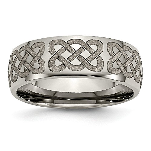 Jewelry Stores Network Mens 8mm Polished Titanium Celtic Weave Pattern Wedding Band Ring (Pattern Celtic Weave)