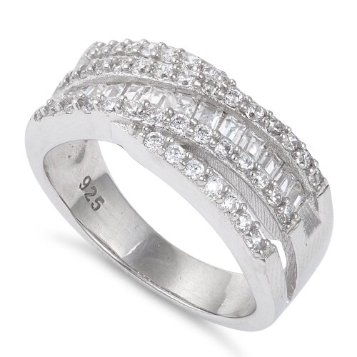 Sterling Silver Free Form Art Cz Ring - Size 8 ()