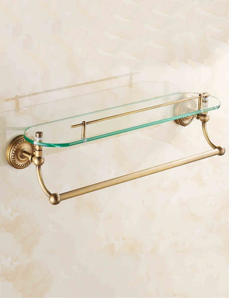 DIDIDD Shelf-Extremely Firm Shower Shelf All Copper Antique Double Layer Dressing Table Glass Shelf Cosmetics Frame Bathroom Storage Rack with Towel Bar Ensuring Quality