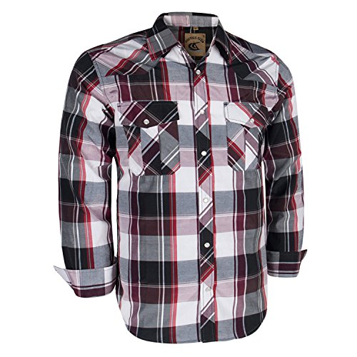 Coevals Club Men's Long Sleeve Casual Western Plaid Snap Buttons Shirt (XL, 20#red,purple) (Button Sleeve Long Red)