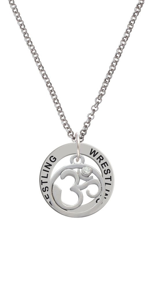 Om in Circle with Clear Crystal - Wrestling Affirmation Ring Necklace by Delight Jewelry