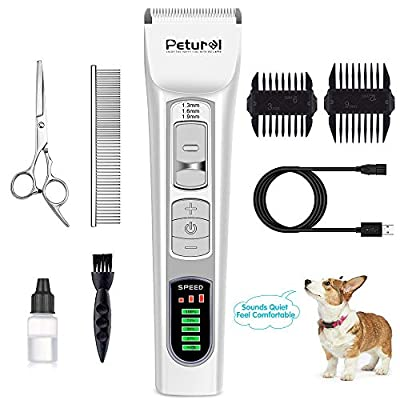 Dog Clippers Professional Cordless Clippers Rechargeable Dog Grooming Clippers and Cat Grooming Clippers with LCD Display Pet Grooming Clippers for Small Middle Large Dogs and Cats Pet Grooming Kit