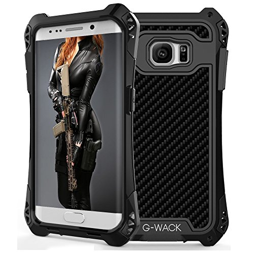 [G-WACK Premium Carbon Fiber Aluminum Protective Metal Case Cover Extreme Shockproof Military Bumper Shell Case For Samsung Galaxy S7 Edge (Black)] (Carbon Fiber Protective Cover)
