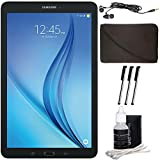 Samsung Galaxy Tab E 9.6'' 16GB Tablet PC (Wi-Fi) - Black Accessory Bundle includes Tablet, Cleaning Kit, 3 Stylus Pens, Metal Ear Buds and Protective Sleeve