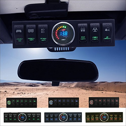 Apollointech Jeep Wrangler JK & JKU 2007-2018 Overhead 6-Switch Pod / Panel with Control and Source System Green Back Light ( Comes with 10 Laser Switch Covers )