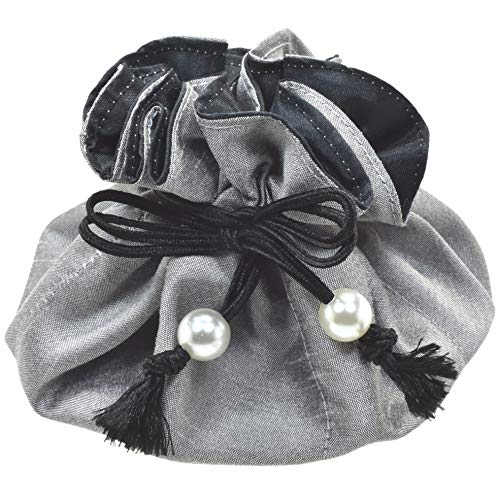 Silk Organizer - Drawstring Jewelry Pouch, Poly Dupioni Silk, Silver + Black