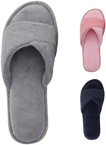 HomeIdeas Women's Open Toe Terrycloth Slide House Slippers with Comfy Velvet Lining, Spring Summer Memory Foam Indoor Shoes