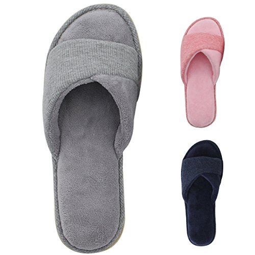 HomeIdeas Women's Open Toe Terry Anti-Slip House Slide Slipper, Perfect for Hotel, SPA and Travel (Large / 9-10 B(M) US, Gray)