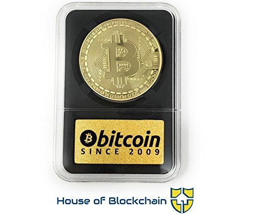 Bitcoin Coin in Collector's Edition Case: Limited Edition Physical Gold Coin with Crypto Coin Display Case | Cryptocurrency Coin with Realistic Details | Desk Home Office Idea for HODL Fans