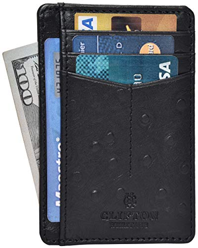 RFID Front Pocket Slim Wallets for Men - Genuine Leather Minimalist Credit Card Holder By Clifton Heritage (Small, Black Ostrich Curve)