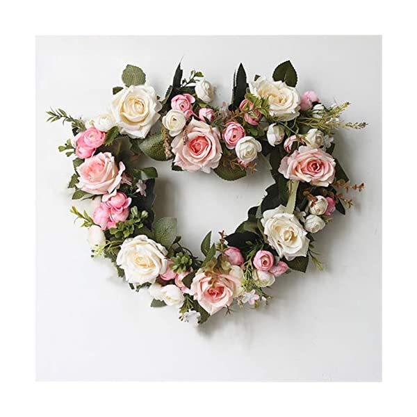 Liveinu Handmade Floral Artificial Simulation Peony Flowers Garland Wreath Wedding Table Centerpieces for Home Party Decor 14″ Heart Shape Pink Door Wreath