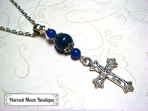 Blue Jade & Blue Goldstone Cross Necklace Gemstone Beaded