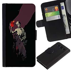 // PHONE CASE GIFT // Moda Estuche Funda de Cuero Billetera Tarjeta de crédito dinero bolsa Cubierta de proteccion Caso Samsung Galaxy S3 III I9300 / Gothic Skull Hell Boy /