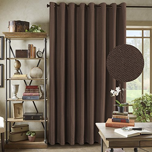 H.Versailtex Functional Room Divider Curtain Textured Linen Extra Long and Wide Thermal Insulated Panels - Grommet Wider Curtain Large Size 100