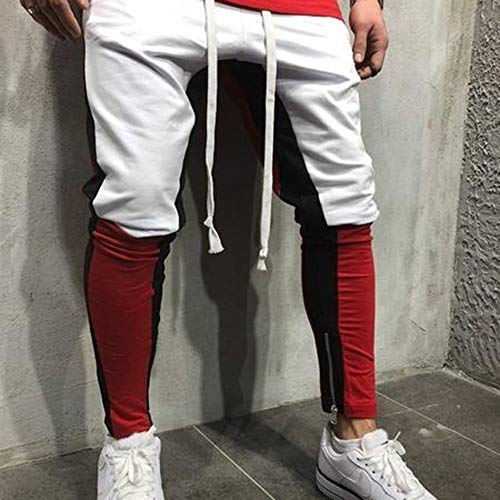 Ceinture Cordon Homme Survêtement Bandes Fitness Pants Elastiques Sport Latérales Rouge Européen Blanc Rap Crayon Patchwork Colorblock De Hip Hop Rera Pantalon TqUdxwSABB