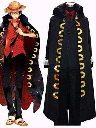 Cos-me One Piece Monkey D Luffy Costume Cosplay Black Cloak Full Set Custom (Custom D D Costumes)