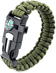 TECHONG 5 in 1 Sports Paracord Bracelet - Survival Plain Casual Wristband with Multi Emergency Tools Compass,