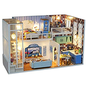 Amazon.com: CYL 3D Dolls House Furniture Miniature Loft ...