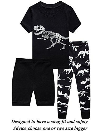 3 Piece Summer Short - Little Boys 3 Piece Short Pajamas 100% Cotton Toddler PJS Summer Kids Clothes Shirts 8t
