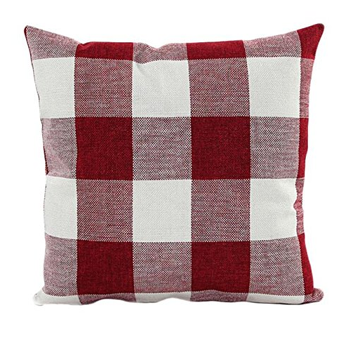 Pillow Case,Han Shi Lattice Sofa Bed Pillowslip Cushion Cover Christmas Gift Home Decor (Red, L)
