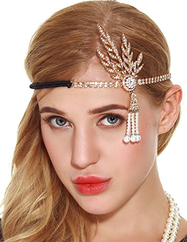 Price comparison product image Art Deco 20s Flapper Headpiece - Great Gatsby Inspired Leaf Medallion Pearl Headband (gold-1)