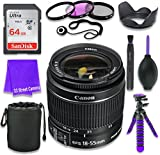 Canon EF-S 18–55mm f/3.5–5.6 IS II Lens (White Box, Bulk Packaging) for Canon DSLR Cameras & SanDisk 64GB Class 10 Memory Card + Complete Accessory Kit (11 Items)