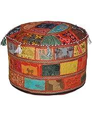 Marubhumi Traditionele decoratieve Ottomaanse comfortabele vloerkussens kruk met versiering met borduurwerk & patchwork, 58 x 33 cm