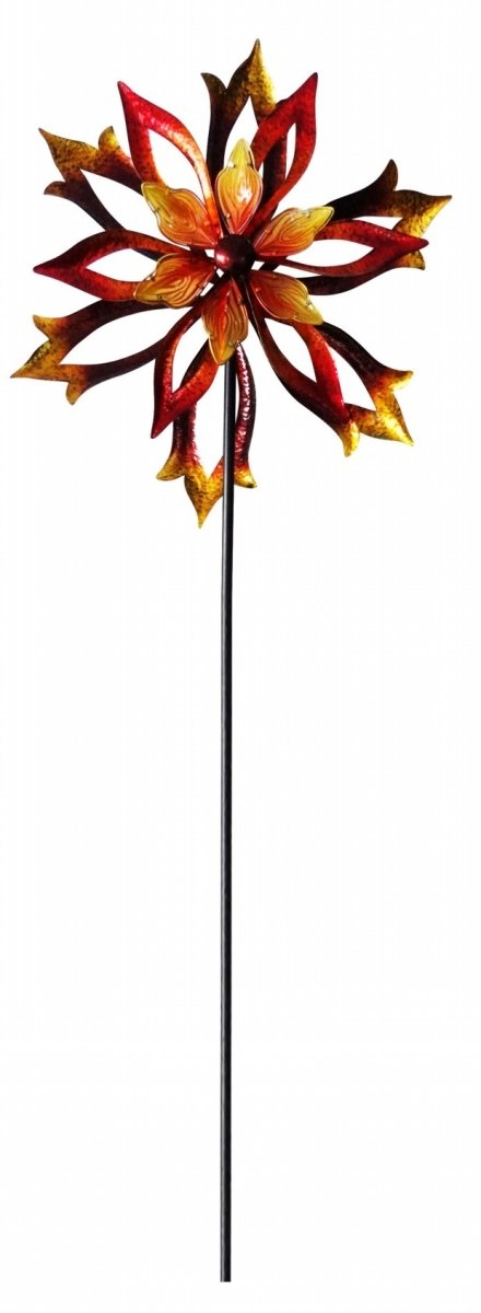 Metal Double-Sided Flame Spinning Garden Stake