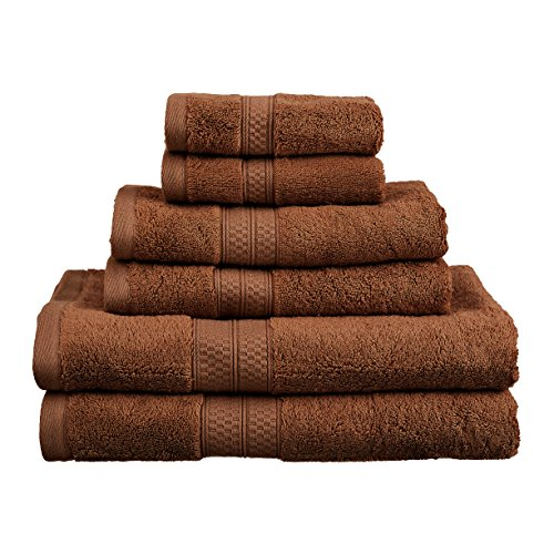 6-Piece Towel Set, Soft Rayon From Bamboo, Quick Dry, Cocoa