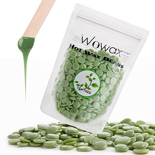 WOWAX Green Hard Wax Beans, 10.5oz/300g Stripless Hair Removal Hot Wax Beads For Body, Lips, Armpits, Eyebrows and Sensitive Skin, Tea Tree (Green Wax)
