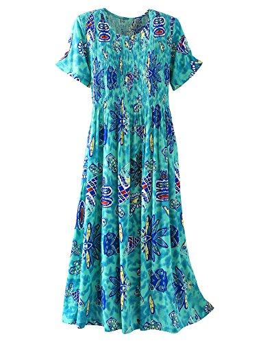 Kaktus Printed Crinkle Crepe Smocked Dress, Ocean Print, Large