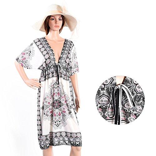 Vbiger Trajes de Baño Vestido de Playa Camisolas y Pareos para Mujer Ropa Premamá Blanco