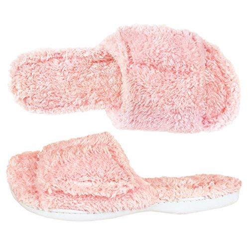 Dearfoams Fuzzy Terry Pink Slide Slippers (L (9-10))