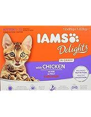 IAMS Delights Kitten Natvoer - Multipack kattenvoer met kip in saus, hoogwaardig voer voor junior katjes van 1-12 maanden, verschillende maten