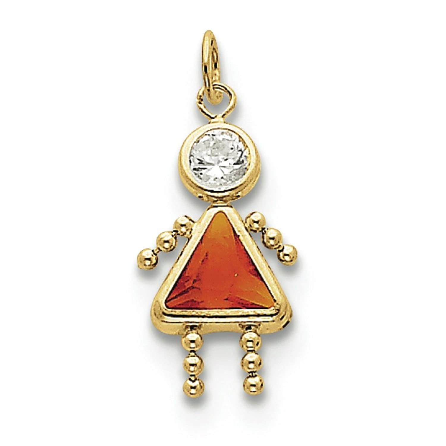 10K Yellow Gold November Girl Synthetic Birthstone Charm Pendant