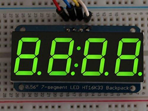 Adafruit /Écran 4/Chiffres 7/Segments avec i2//°C Sac /à Dos pour Arduino/ /Vert