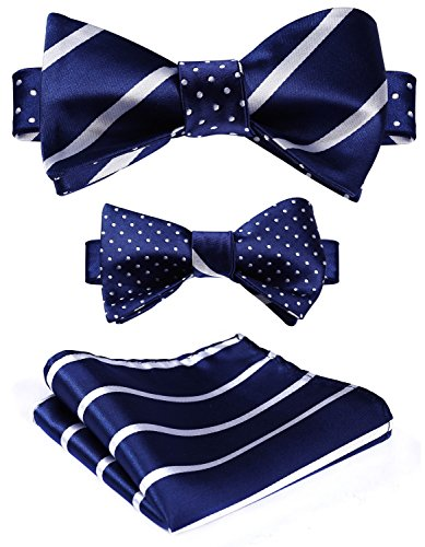 (HISDERN Men's Striped Double Sided Jacquard Self Bow Tie Set)