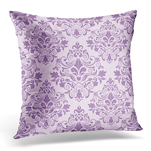 "Emvency Throw Pillow Covers Purple Floral Damask Vintage Lace Swirl Creative Royal Decorative Pillow Case Home Decor Square 20"" x 20"" Pillowcase"