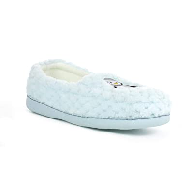 Zone - Womens Light Blue Penguin Moccasin Slipper - Size 3 UK - Blue ... c7e14cb780