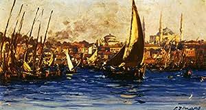 OdsanArt 24 x 33,02 cm Post Impresionismo 'la Diseño del puerto de Estambul' por Zonaro Póster de Fausto artstore